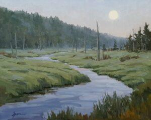 Moonrise On Mill Stream Marsh Painting
