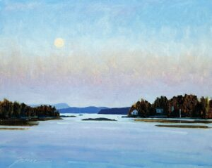 Summer Moon Over Blue Hill Bay Painting