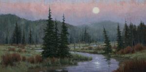 Misty Moonrise Painting