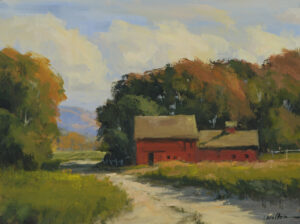 Barns by the Road Painting