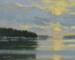 Sunrise in Webb Cove Painting